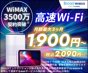 Broad WiMAXはポケットWiFi最安値